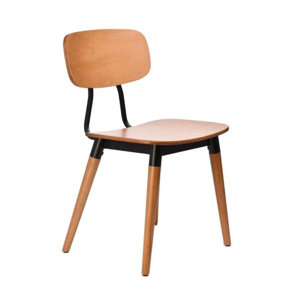 felix chair – ply seat – lancaster oak – black frame i8 2