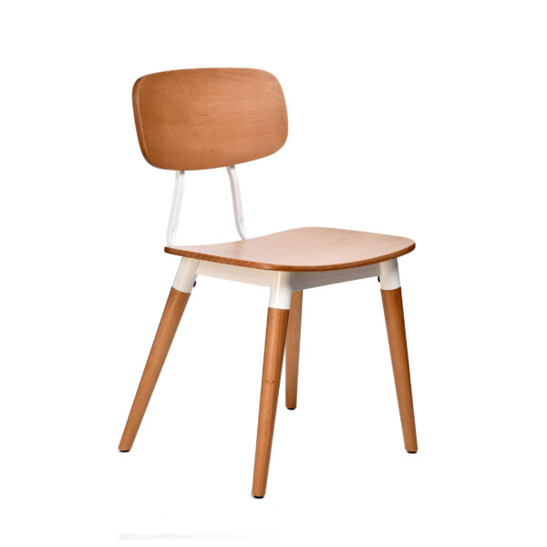 felix chair – ply seat – natural – white frame h8