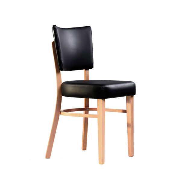memphis chair black vinyl seat and backrest natural frame front right