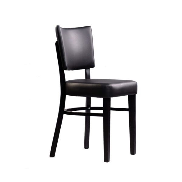 memphis chair black vinyl seat and backrest wenge frame front right
